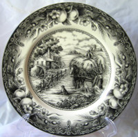 Black Toile Transferware Horse Dog Fruit Plate a
