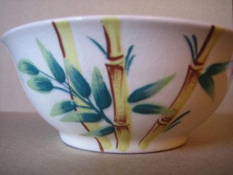 Vintage 50s hand painted bamboo bowl www.DecorativeDishes.net