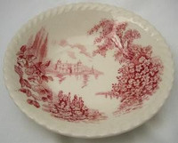 Pink Toile Castle Hollyhock Tiny Bowl Trinket Dish