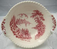 Pink Toile Castle Hollyhock Handled Bowl