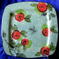 Big Art Pottery Green Dots Red Roses Bee Plate