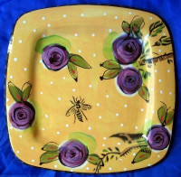 Big Art Pottery Gold Dots Purple Roses Bee Plate
