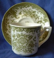 Sage Green Toile Roses Vintage Cup & Saucer