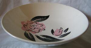 Rockabilly 1950s Retro Black Pink Rose Vtg Bowl L