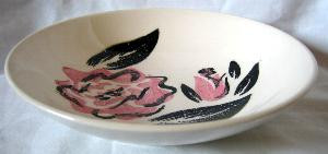 Rockabilly 50's Retro Black Pink Rose Vtg Bowl S