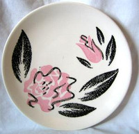 Rockabilly 50s Retro Black Pink Rose Vtg Plate