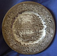 Brown Taupe Toile Transferware Boy Rowboat Mansion Vintage Plate S