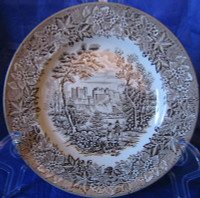 Brown Taupe Toile Transferware Castle Shepherd Berry Leaf Plate M