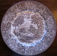 Brown Taupe Toile Transferware Girl Hat Bridge Vintage Plate