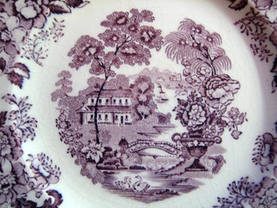 Purple Plum Toile Chinoiserie Swan Roses Vintage Plate Center www.DecorativeDishes.net