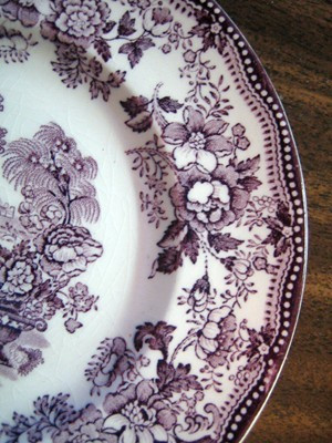 Purple Plum Toile Chinoiserie Swan Roses Vintage Plate Edge www.DecorativeDishes.net