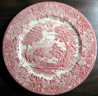 Red Pink Toile Transferware Girl Hat Bridge Berries Leaves Vintage Plate