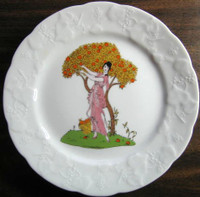 French Art Nouveau Lady Orange Tree Pink Dress Plate