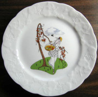 French Art Nouveau Lady Fruit Basket Bird Plate