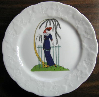 French Art Nouveau Lady Blue Suite Red Hat Fern Plant Plate