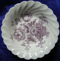 Purple Lavender Lush Basket Roses Scalloped Trinket Mini Dish