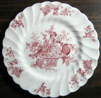 Red Pink Toile Rose Fruit Basket Grape Leaves Swirl Edge Plate L