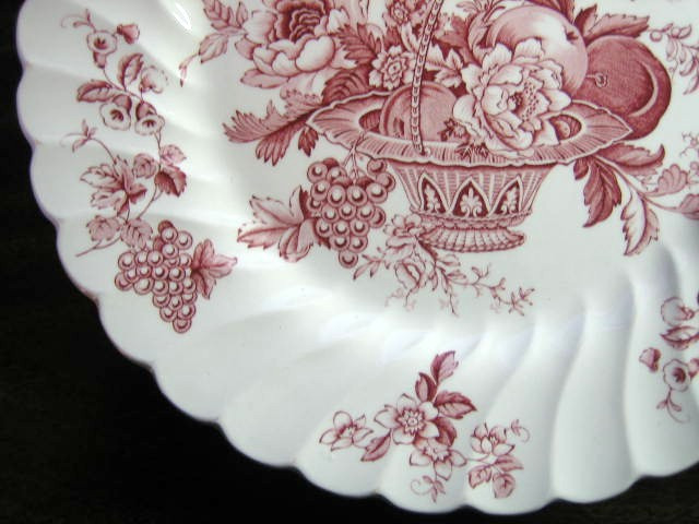 Red Pink Toile Rose Fruit Basket Grape Leaves Swirl Edge Plate Edge www.DecorativeDishes.net