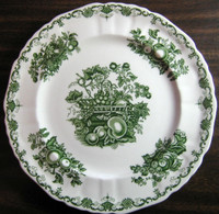 Green Toile Basket Strawberry Peach Blueberry Curly Cue Vintage Plate