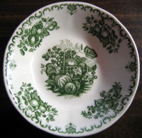 Decorative Bowl - Green Toile Basket Strawberry Peach Blueberry Curly Cue Vintage