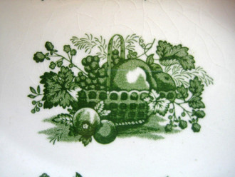 Green Toile Basket Strawberry Peach Blueberry Curly Cue Oval Handled Dish