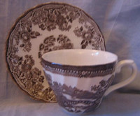 Brown Taupe Toile Chinoiserie Swan Roses Vintage Cup and Saucer