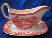 Red Pink Toile Chinoiserie Swan Roses Pitcher with Plate