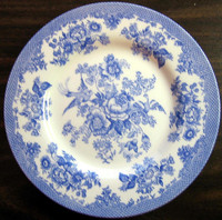 BLue Toile Rose Exotic Bird Paris Chinoiserie Plate M