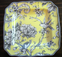 Decorative Plate - 3-D Yellow Rose Bird Branch Blossom Square Medium Size