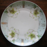 Decorative Plate - Aqua Gold Sweet White Flower Old Vintage Medium