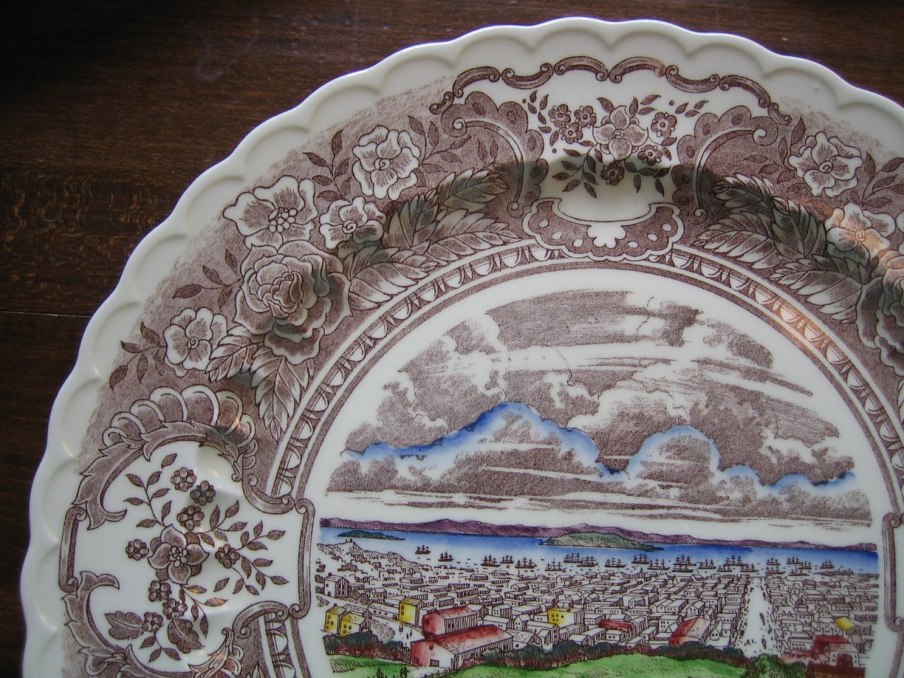 Decorative Platter - Vintage Brown Toile Roses Village Colored USA Huge Edge www.DecorativeDishes.net