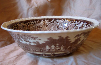 Decorative Bowl -  Brown Transferware Exotic Castle Couple Dog Leaves Large