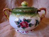 Decorative Bowl - Lidded OLD Hand Painted Japan Bird Gold Scrolls Roses CUTE