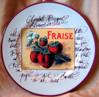 Decorative Plate - Vintage Rosanna Strawberry Label Script Italy