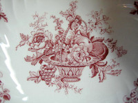 Decorative Bowl - Large Shabby Red Pink Toile Rose Fruit Basket Swirl
