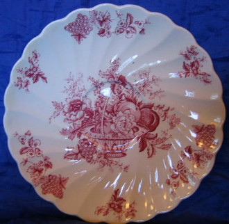 Decorative Dish -Small Red Pink Toile Rose Fruit Basket Grape Leaves Swirl Edge Candleholder