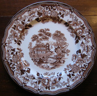Brown Chinoiserie Plate