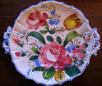 Decorative Platter -  VIntage Handpainted in Italy Rose Tulip Fluted Edge Handled