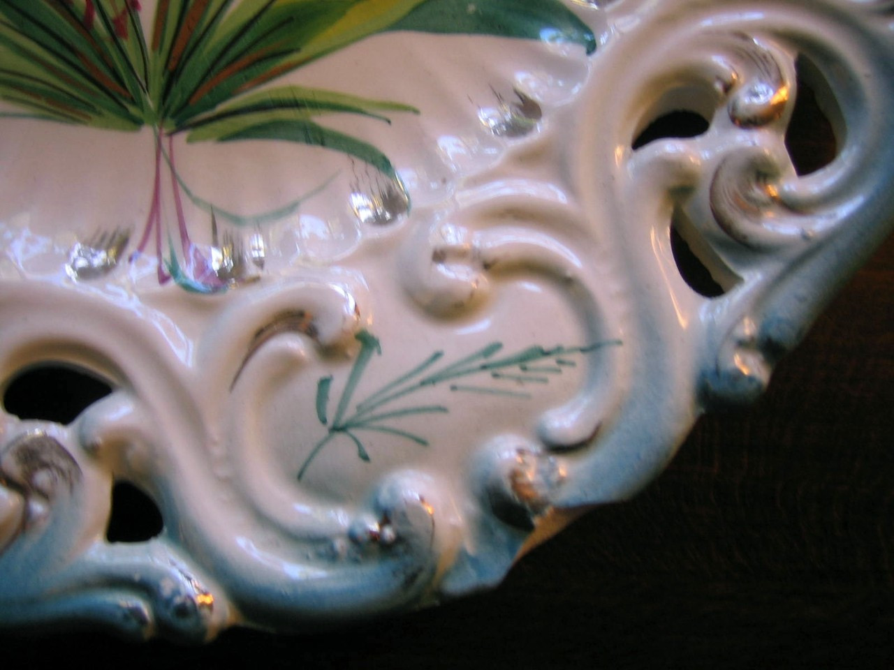 Vintage Decorative Plate - Aqua Pierced Purple Flower Gold Leaf Handpainted in Italy Edge www.DecorativeDishes.net