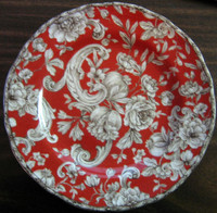Red tapestry rose plate