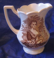 Vintage Brown Toile Martha Washington Small Pitcher