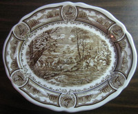 Brown Toile Transferware Vintage Horses Colonial Oval Platter