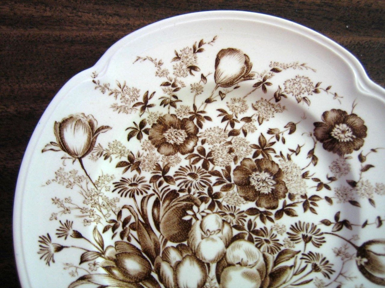 Brown Toile Transferware Tulip Vintage Small Plate Center www.DecorativeDishes.net