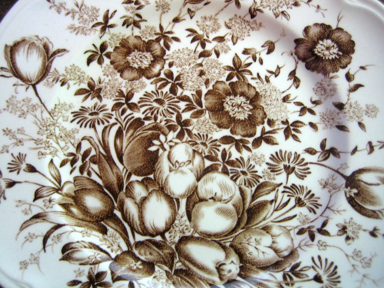 Brown Toile Transferware Tulip Vintage Small Plate Edge www.DecorativeDishes.net