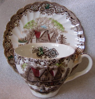 Brown Toile Hand Colored Colonial Children Playing Spinning Cup and Saucer