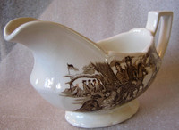 Brown Toile Americana Valley Forge Long Ironstone Pitcher