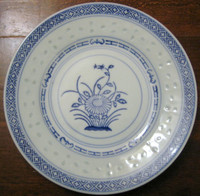 Cool Translucent Cobalt on Light Blue Chinoiserie Daisy Vintage Plate