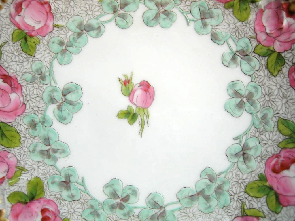 Antique Hand Painted Pink Roses Gold Edge French Limoges Porcelain Plate Center www.DecorativeDishes.net