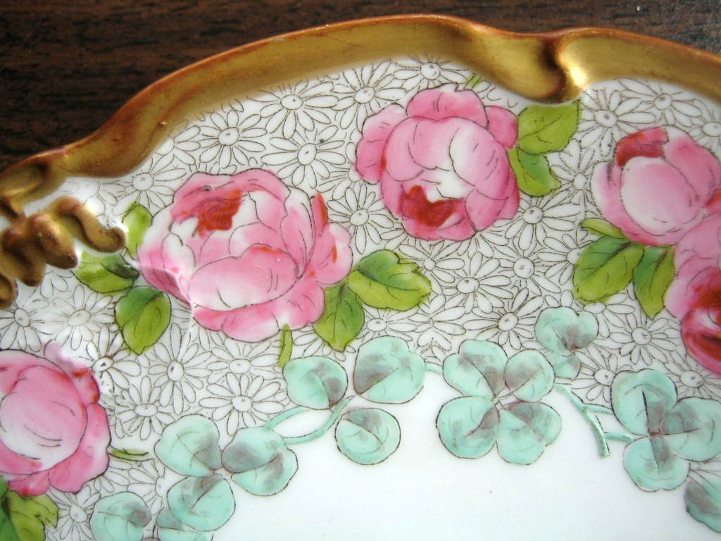 Antique Hand Painted Pink Roses Gold Edge French Limoges Porcelain Plate Edge www.DecorativeDishes.net