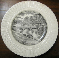 Old Black Toile River Bridge Plate